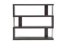 Baxton Studio Barnes Dark Brown Three-Shelf Modern Bookcase  | Wholesale Interiors