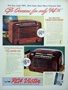 "Vintage Radio Advertising - RCA Victor, ""Go Overseas … 