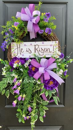 Easter Wreath, Spring Wreath, Religious Wreath, He Is Risen Wreath, SassyDoors Wreath Diy Spring Wreath, Spring Door Wreaths, Easter Wreaths, Diy Wreath, Holiday Wreaths, Grapevine Wreath, Wreath Ideas, Easter Religious, Grape Vines