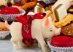 """CHRISTMAS: Marzipan candy pig, a Christmas candy, which represents""""Good Luck"""", in some countries,"""