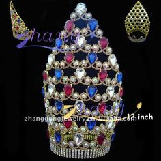 alibaba large beauty pageant crown | large colored rhinestone pageant crown, View pageant crown, ZG Product ...