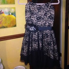 B wear homecoming/formal occasion lace dress Black and Tan lace dress, stretchy back, slight padding, high low style, sequins badge on belt, worn once Dresses Prom