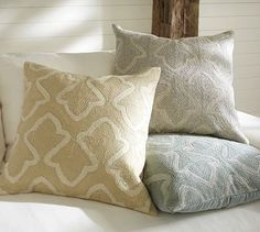 BRIELLE CREWEL EMBROIDERED PILLOW COVER free shipping new PLEASE SELECT COLOR: BLUE SMOKE   GRAY   WHEAT $59.50