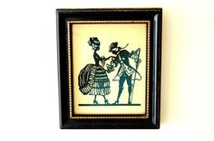 Vintage Silhouette, Rococo Period Couple, Paper Cutout Art, Black and Gold Frame, Paper Art Work, German Die Cut Silhouette Art, 1920s Art by FeelzLikeHome on Etsy https://www.etsy.com/uk/listing/241573645/vintage-silhouette-rococo-period-couple