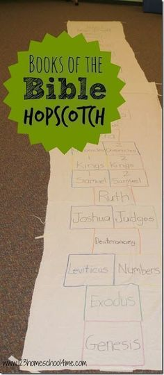 Books of the Bible Hopscotch - This is such a fun, clever and active way for kids to practice the books of the bible! Great for Sunday…