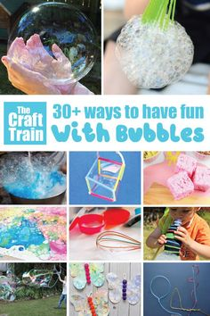 Creative and fun bubble activities to get kids out doors away from screens this Summer! Big bubbles, DIY bubble recipes, sensory play ideas, STEM and more #bubbles #STEM #STEAM #sensoryplay #bubbleart #bigbubbles #bubblerecipes #playmatters #outdoorfun #kidsactivities #thecrafttrain