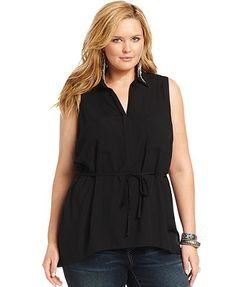 American Rag Plus Size Top, Sleeveless Belted