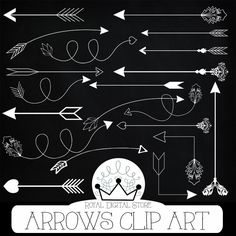"Arrows clip art: "" ARROWS CLIP ART"" with arrows clipart, hand drawn arrows, digital arrow, chalk arrow clipart + 3 Free chalkboard papers #tribal #planner #black #white #wedding #romantic #digitalpaper #scrapbookpaper"