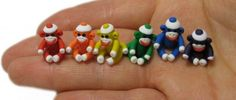 Tiny Rainbow Sock Monkey Set - MADE TO ORDER Hand sculpted