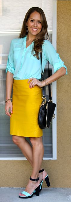 Turquoise and yellow outfit