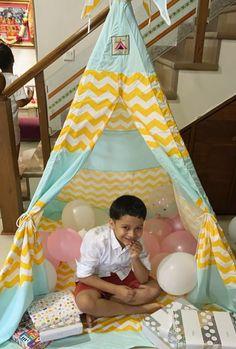 Kids Teepee Tent, Play Tents, Teepees, Turquoise Chevron, Yellow Chevron, Sleepover Party, Slumber Parties, Teepee For Sale, The Good Dinosaur