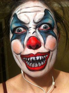 scary halloween crazy clown makeup