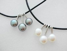 Freshwater pearl pendant black strap necklace