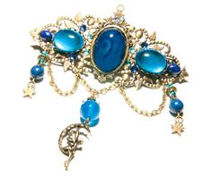 Barrette féerique agate bleu, verre, lapis lazuli, cristal de Swarovski