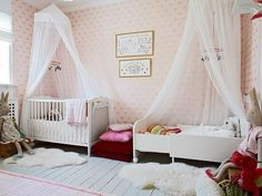 Perfect little girl's bedroom for sisters to share. <3