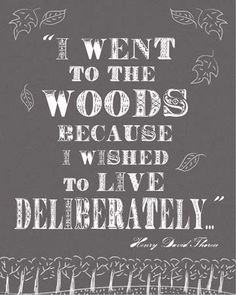 Thoreau Digital Typography Quote Art Print in Charcoal - I Went to the Woods - Live Deliberately. $18.00, via Etsy.