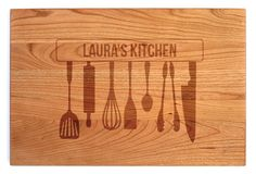 Regular Wood Cutting Board - Laser Engraved with Cooking Tools Design and Customized Message - Available in Cherry, Maple and Walnut