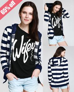 Stylish Hooded Long Sleeve Striped Zippered Hoodie For Women
