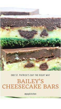 Baileys Cheesecake, Cheesecake Pie, Chocolate Cheesecake, Graham Cracker Crumbs, Graham Crackers, Dessert Bars, Dessert Table, Chocolate Ganache Frosting, Green Food Coloring