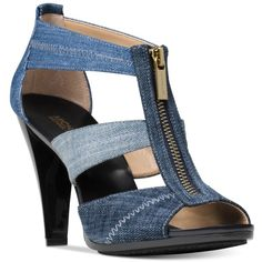Michael Michael Kors Berkley T-Strap Sandals ($99) ❤ liked on Polyvore featuring shoes, sandals, indigo blue, michael kors footwear, michael kors sandals, zip shoes, t-bar shoes and zipper sandals