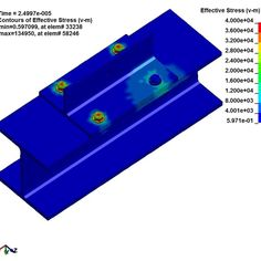Missed Connection? Example of why its so important to gut check your FEA results. A missed connection in the FEA model resulted in only 3 of 4 bolts taking the load in this prestressed connection. Mechanical Engineering Design, Cad Cam, Connection, Stress, Check, Model, Projects, Log Projects