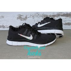 Nike Run   5.0 Running Shoes w/swarovski Crystals Detail Black ($149) ❤ liked on Polyvore featuring shoes, sandals, black, women's shoes, swarovski crystal sandals, black shoes, swarovski crystal shoes, kohl shoes and black sandals