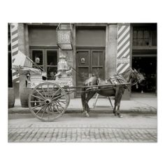 A milk delivery cart in New Orleans. A barbershop is seen in the background. 1910.