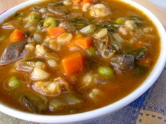 Healthy vegetable beef and mushroom barley soup for the slow cooker