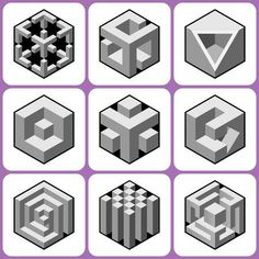 Illustration of cube icons set 4 vector art, clipart and stock vectors. Geometric Designs, Geometric Shapes, Isometric Art, Geometric Drawing, Cube Design, Geometry Art, 3d Wall Art, Illusion Art, Zentangle Patterns