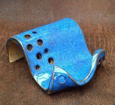 Business Card Holder Stoneware Clay in Cobalt Blue Vertical or Horizontal Cards
