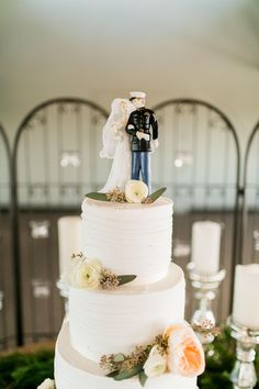Wedding cake, white buttercream, classic cake topper, military wedding // Catherine Rhodes Photography