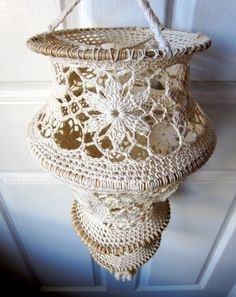 Vintage Crochet Lampshade (I'd do it in bright colors for updated look :) )