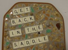 Horse -  Mosaic Assemblage - Get Back in the Saddle - Found Object Art  by Kristina