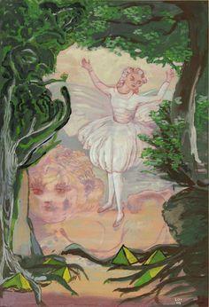 Rosa Loy, Löwe lövt, 2010, 38,5x26,3cm, Kasein auf Papier