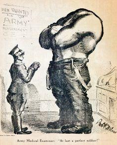 """R. Minor, 'Army Medical Examiner', in 'Masses' (Verenigde Staten, juli 1916). Onderschrift: """"Army Medical Examiner: """"At last a perfect soldier!"""""""" Vertaling: 'Medisch onderzoeker van het leger: """"Eindelijk, een ideale soldaat!"""""""