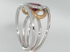 Bague Navona or blanc rose & Saphir rouge orangé 2,65 carats