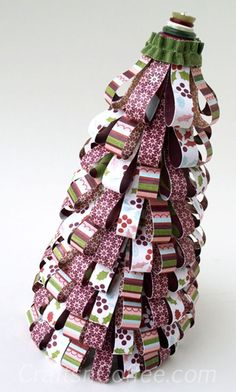DIY easy Paper Christmas Tree Cone  ~~~~~lace trim around top