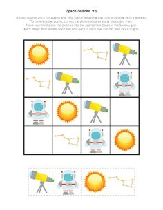 Free printable Space Sudoku Puzzles for space loving kids in preschooler through second grade. What a great way to stimulate critical thinking skills! || Gift of Curiosity Space Printables, Free Printables, Sudoku Puzzles, Scissor Skills, Play Centre, Critical Thinking Skills, Space Theme, Busy Book, Solar System