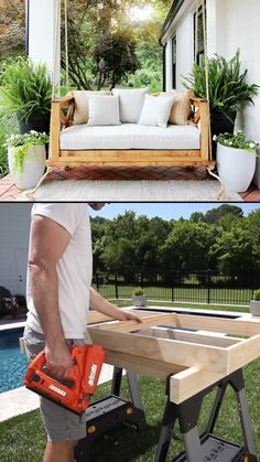 Learn how you can build this beautiful swing for your front or back porch. videos How to Build a Crib Mattress Porch Swing Outdoor Couch, Diy Outdoor Furniture, Outdoor Decor, Backyard Furniture, Outdoor Living, Furniture Projects, Outside Furniture Patio, Hanging Planters Outdoor, Front Porch Furniture