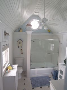 South Haven house rental - Cottage Style full bath w/ bead board cathedral ceiling on second floor.