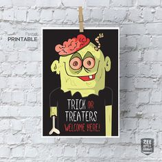 Trick or treat printable sign, Trick or Treaters welcome here, halloween, Zombie…