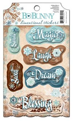 Bo Bunny Press - Snowfall Collection - 3 Dimensional Stickers with Jewel Accents at Scrapbook.com $3.99