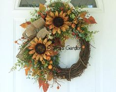 Summer Wreath-Fall Door Wreath-Sunflower Wreath-Rustic Wreath-Country Wreath-Farmhouse  Decor-Cottage Wreath-Harvest Wreath-Autumn Wreath