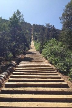 The Manitou Incline is a popular hiking trail rising above Manitou Springs in Colorado that gains over 2,000 feet of elevation in less than a mile.