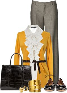 """""""Mustard Cardigan"""" by cynthia335 ❤ liked on Polyvore"""