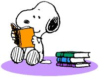 Snoopy reading books animated gif from AnimateIt.net