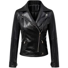 Black Lapel Leather Look Biker Jacket ($63) ❤ liked on Polyvore featuring outerwear, jackets, fake leather jacket, motorcycle jacket, moto jacket, vegan jackets and zip jacket