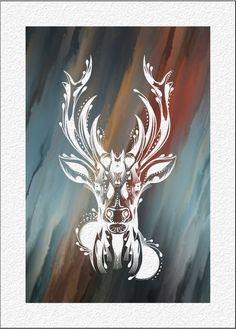 DEER Watercolor Art Print  5 x 7 Archival Watercolor Painting Print Stylized Deer  Portrait Wall Decor Home, Office, Childrens Room or Gift