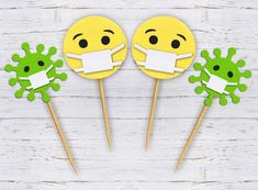 Set of 12 Quarantine Birthday Party Toppers, Face Mask Cupcake Toppers, Virus Cupcake Toppers, Qu Diy Birthday Gifts For Dad, Father Birthday Cards, 1st Birthday Parties, Graduation Decorations, Birthday Party Decorations, Party Themes, Coron, Happy B Day, Diy Party