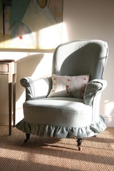 Kate Forman designs - Sitting Room. Sage armchair slipcover with ruffled edge